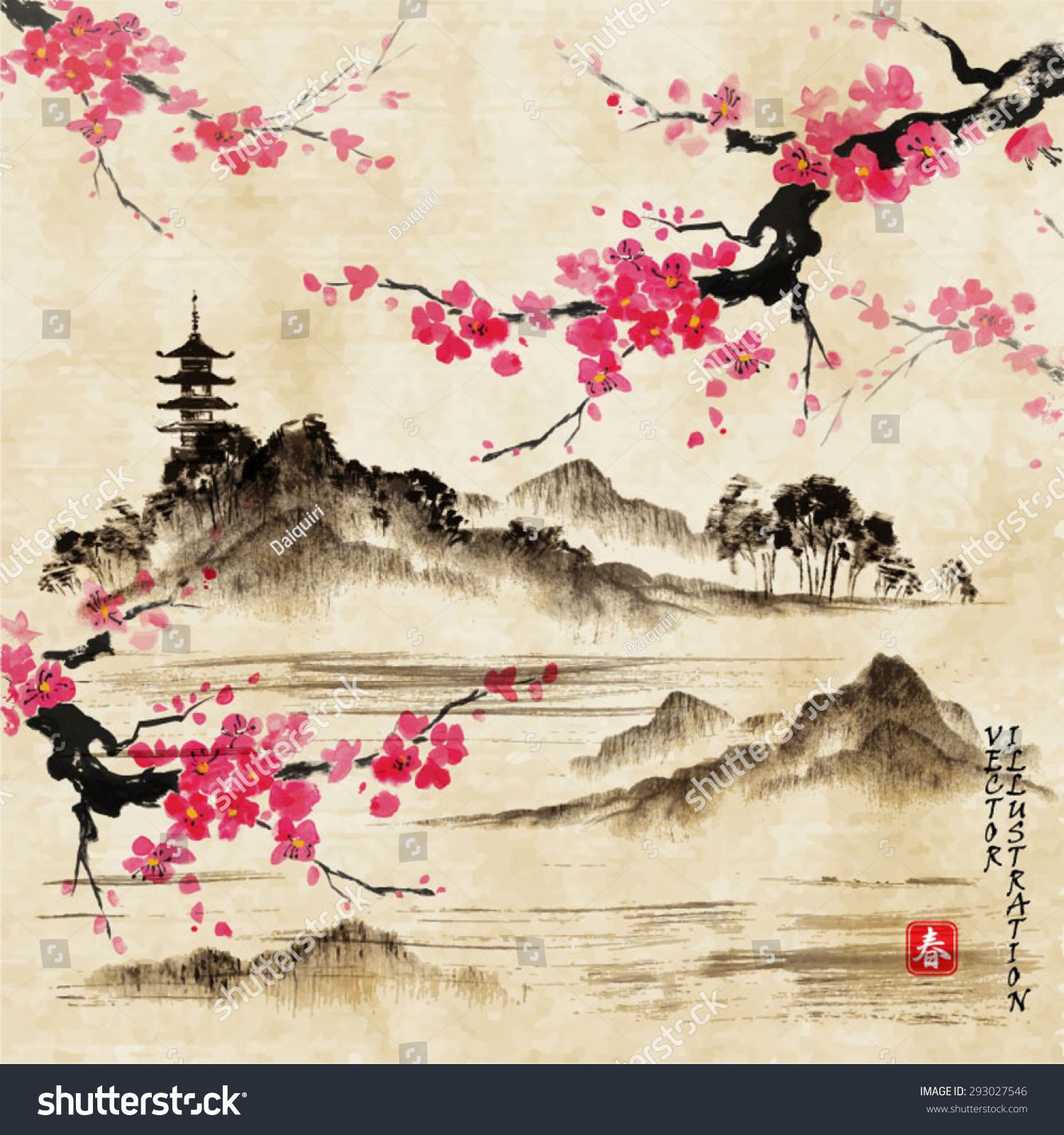 Traditional Japanese Art Landscape