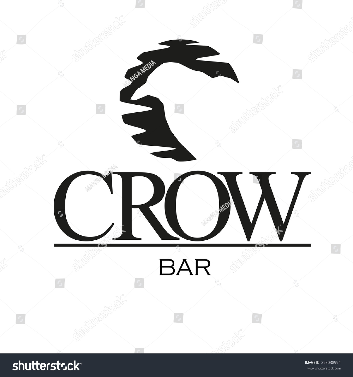 Silhouette crow logo bar stock vector 293038994 shutterstock silhouette of crow logo for bar sciox Choice Image