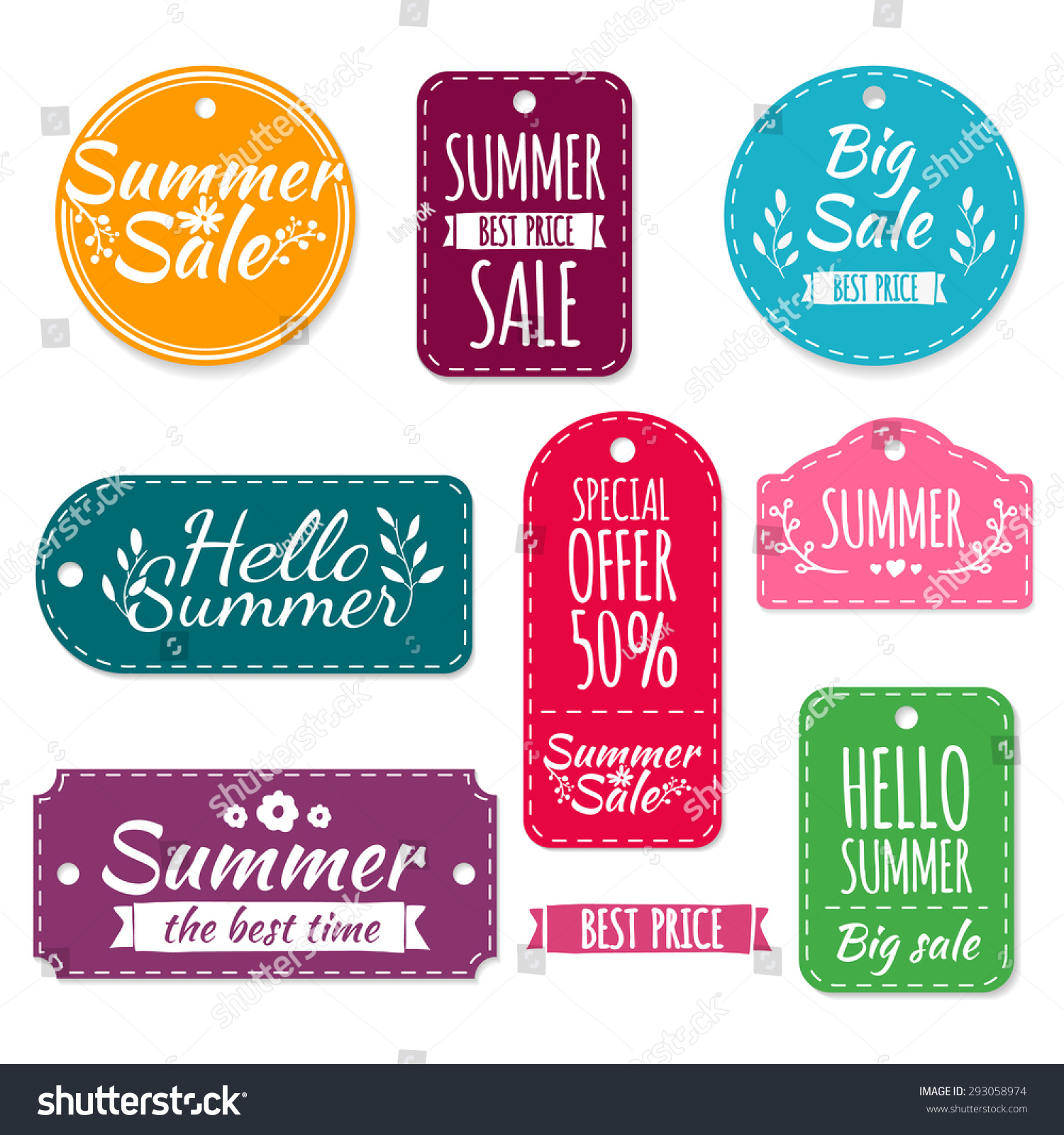 Set of colored summer stickers labels labels coupons spring discounts promotions