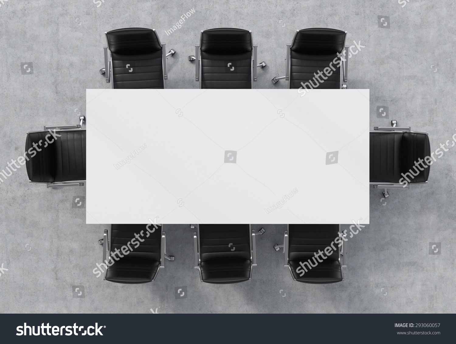 Top View Of A Conference Room A White Rectangular Table And Eight