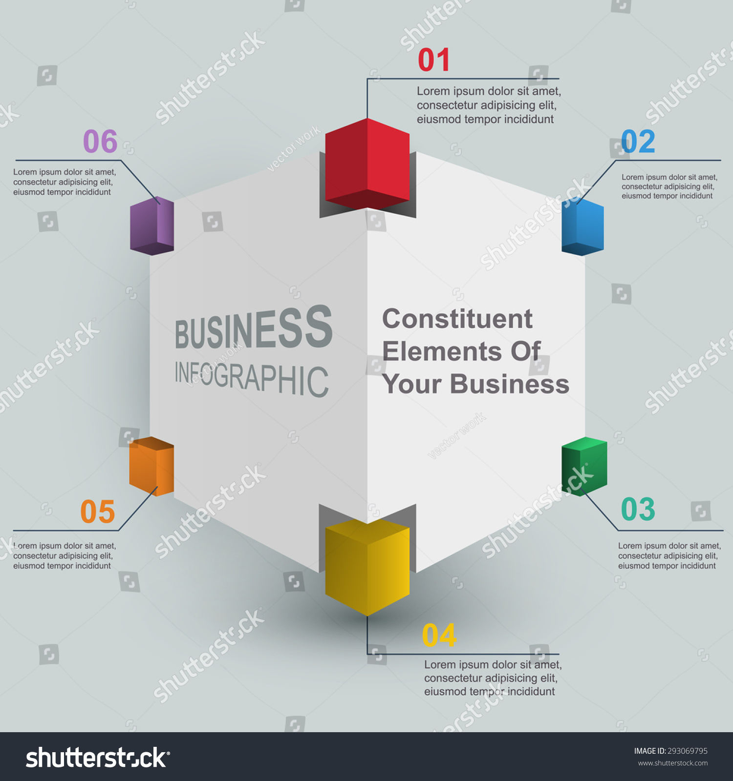 Constituent Elements Cube 3 D Vector Business Stock Vector 293069795 ...