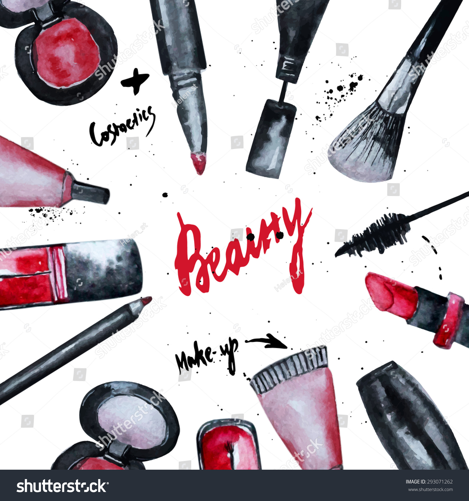 Book Cover Watercolor Nails : Vector watercolor glamorous makeup set cosmetics stock