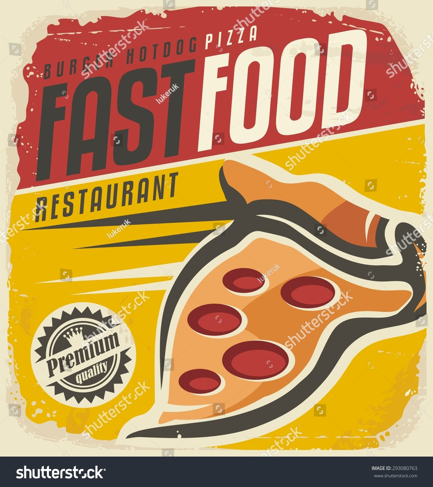 Vintage Fast Food Poster Template Retro Stock Vector ...