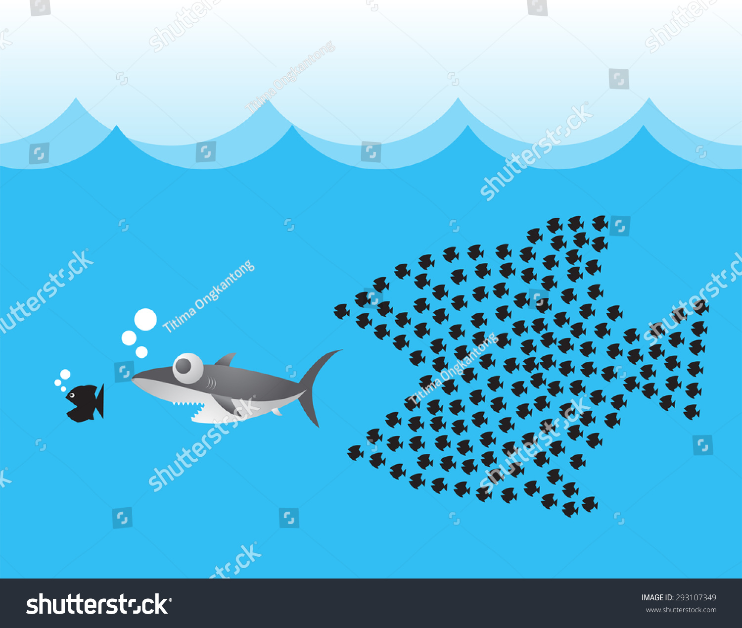 Little Fish Eat Big Fish Unity Stock Vector 293107349