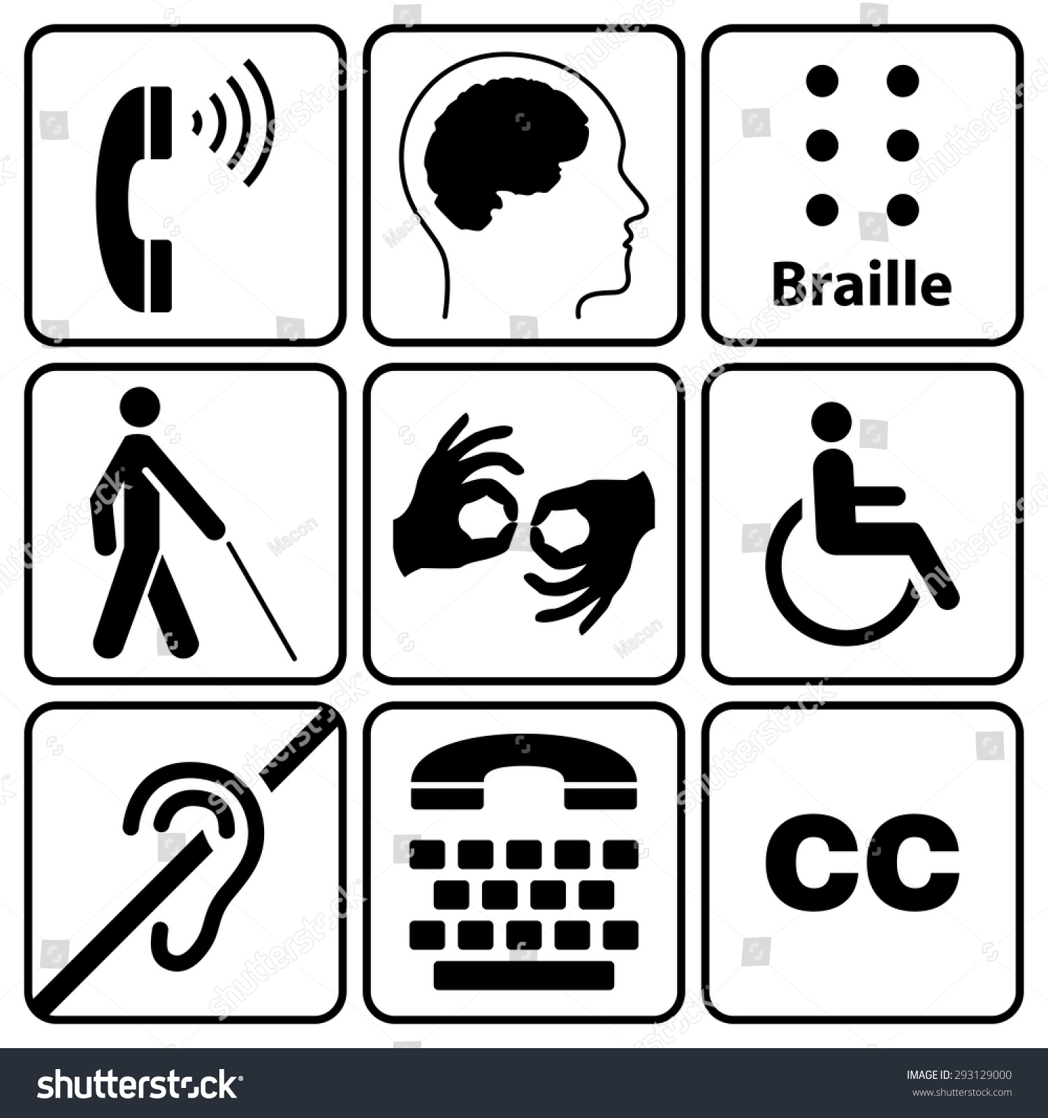 Black disability symbols signs collection may stock vector black disability symbols and signs collection may be used to publicize accessibility of places biocorpaavc