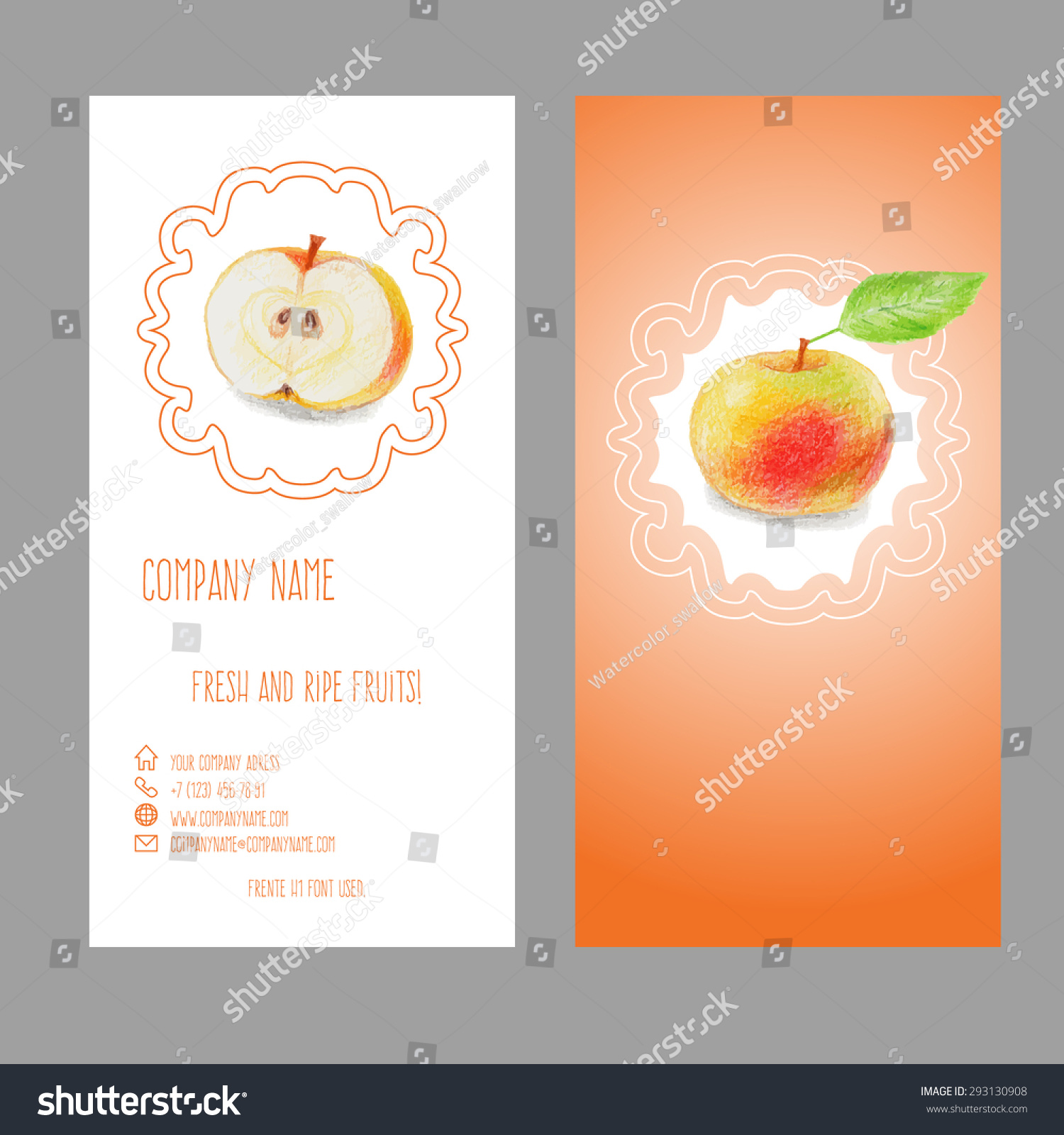 Business Card Apple Drawn Color Pencils Stock Vector 293130908 ...