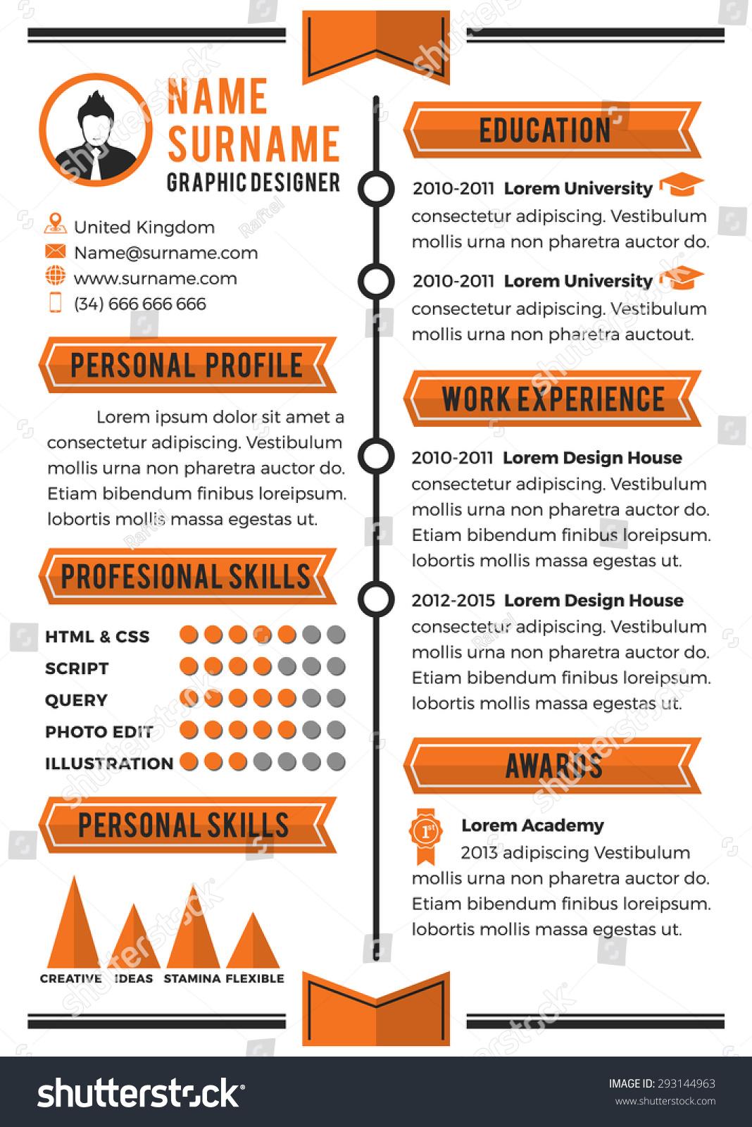 Personal Curriculum Vitae Template Simplicity Professional Stock