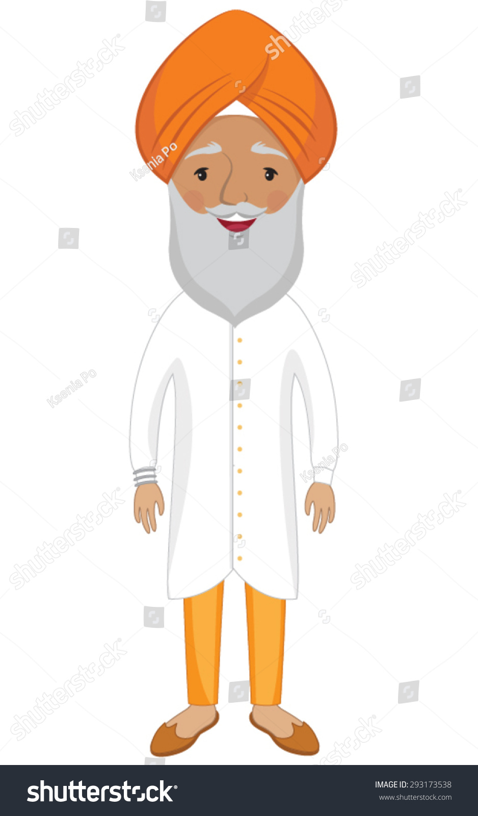 Senior Sikh Man Orange Turban Stock Vector 293173538