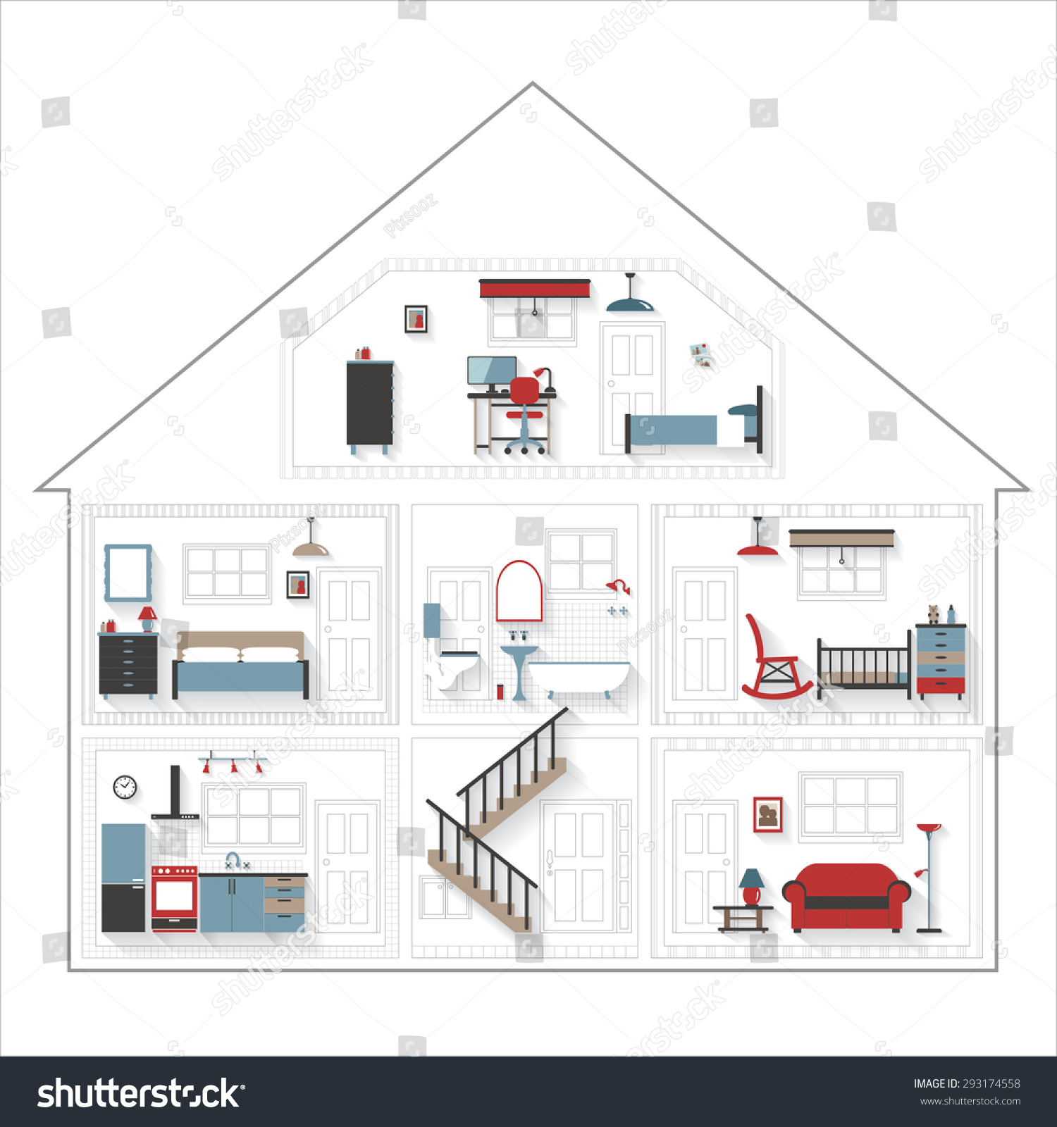 Sketch cutaway residential house furniture color stock photo photo sketch cutaway residential house with furniture in color rooms very detailed include furnishings grouped ccuart Image collections