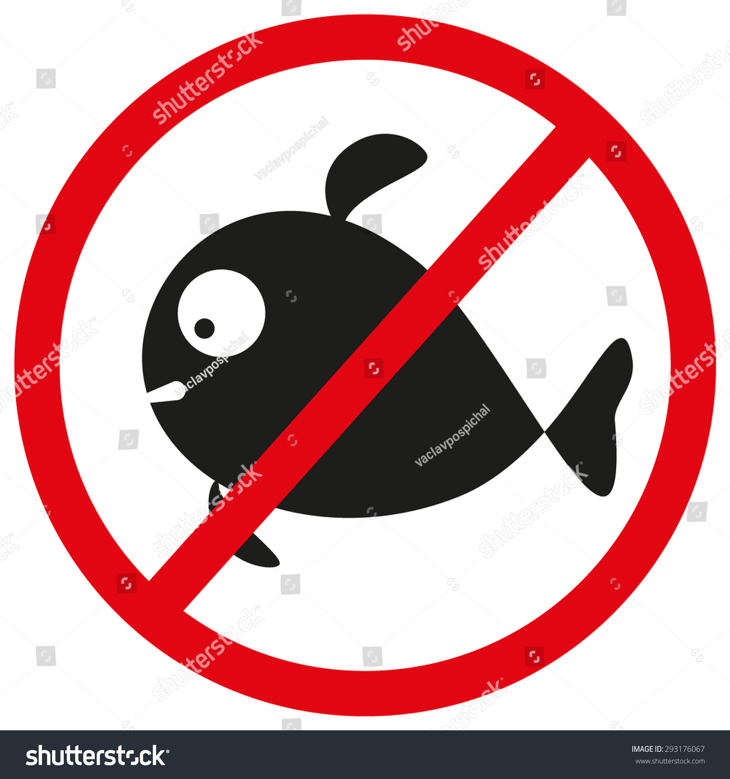 No fish forbidden sign symbol on stock vector 293176067 for Www plenty of fish sign in