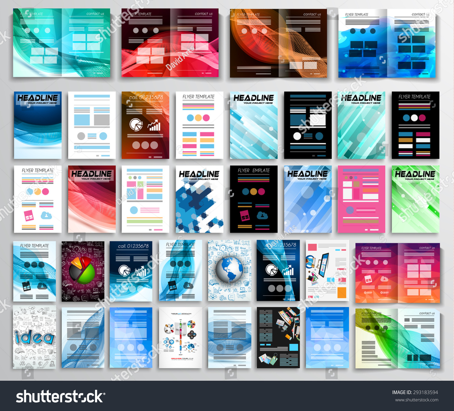 Set flyers background infographics brochures business stock vector set of flyers background infographics brochures business cards coversteamwork reheart Choice Image