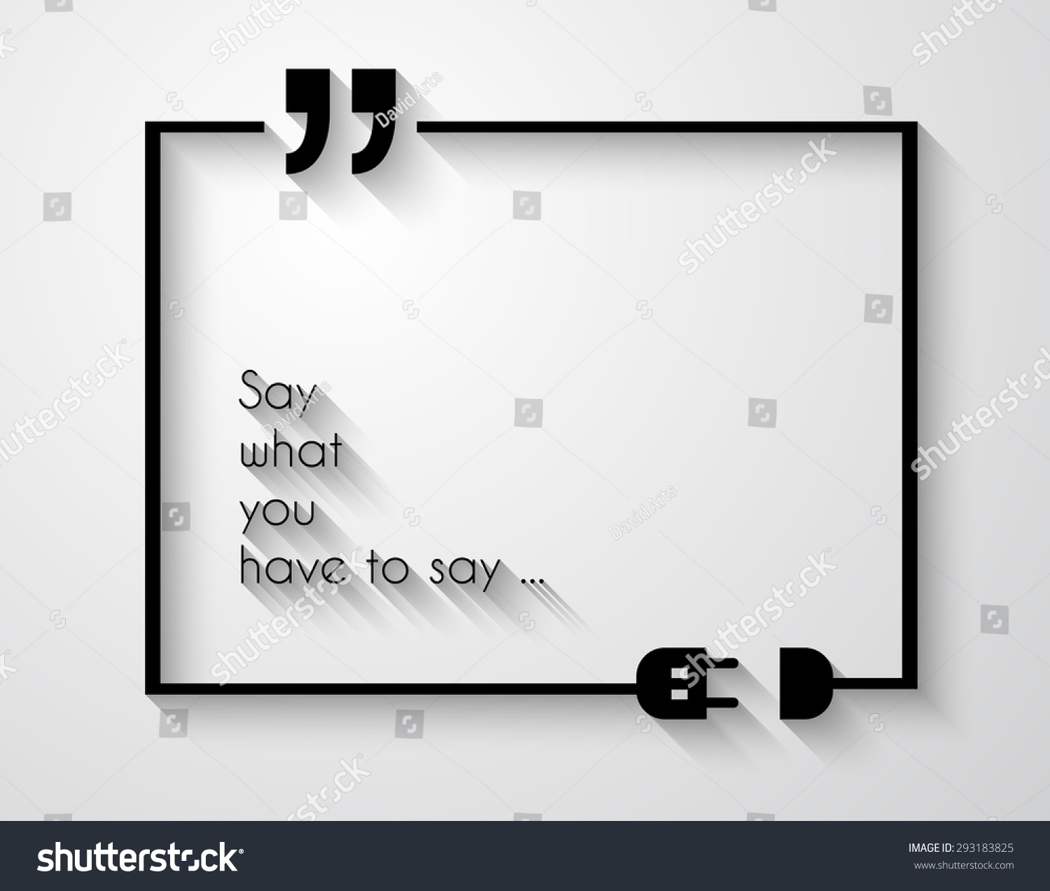 quotation mark frame with flat style and space for text modern template layout for phrases