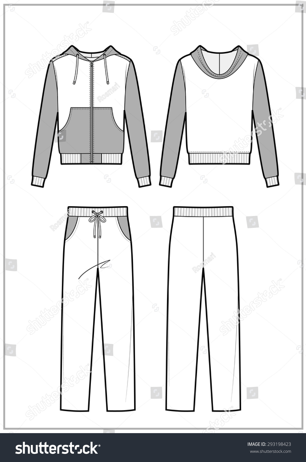 Technical sketch men's tracksuit Stock Photo 293198423