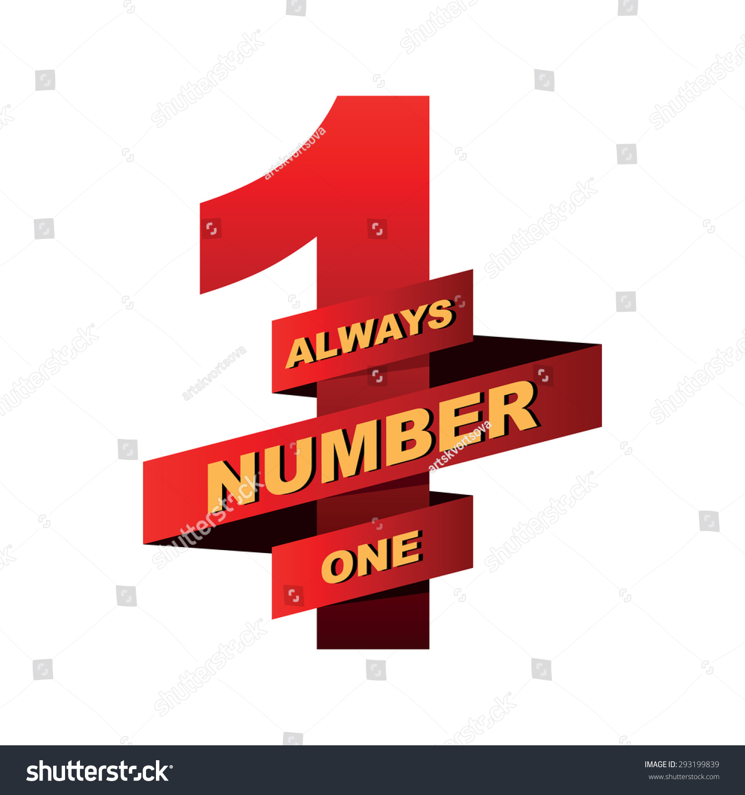 flat design number one first place stock vector 293199839