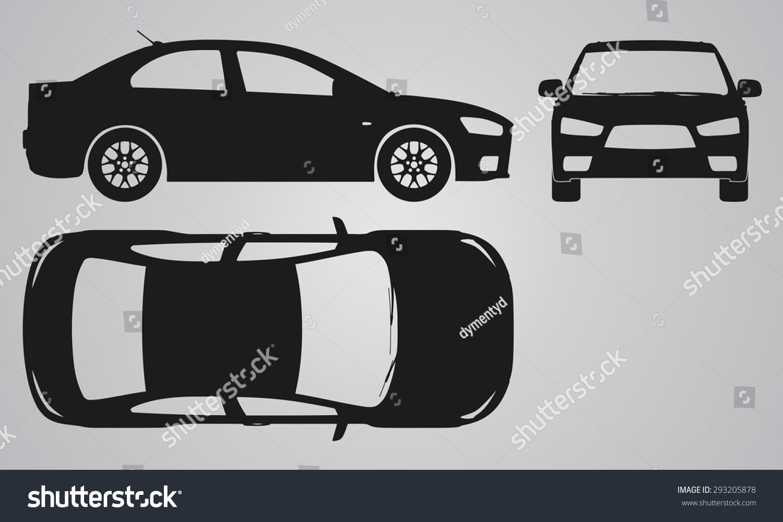 front top side car projection flat stock vector 293205878 shutterstock. Black Bedroom Furniture Sets. Home Design Ideas