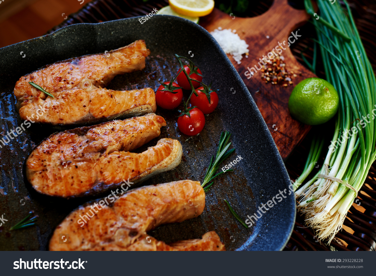 Wife Waits For Guests To Cook For Dinner Salmon Steaks,fish Steaks Salmon  Fillet On Pan Fried Teriyaki Salmon Recipe