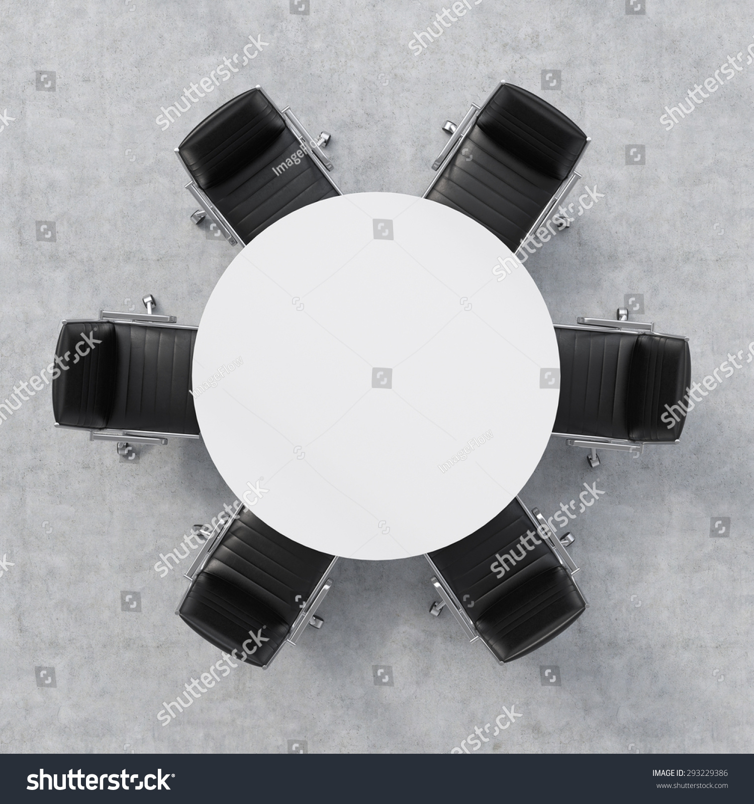 Top View Of A 3d Rendering Conference Room A White Round Table And