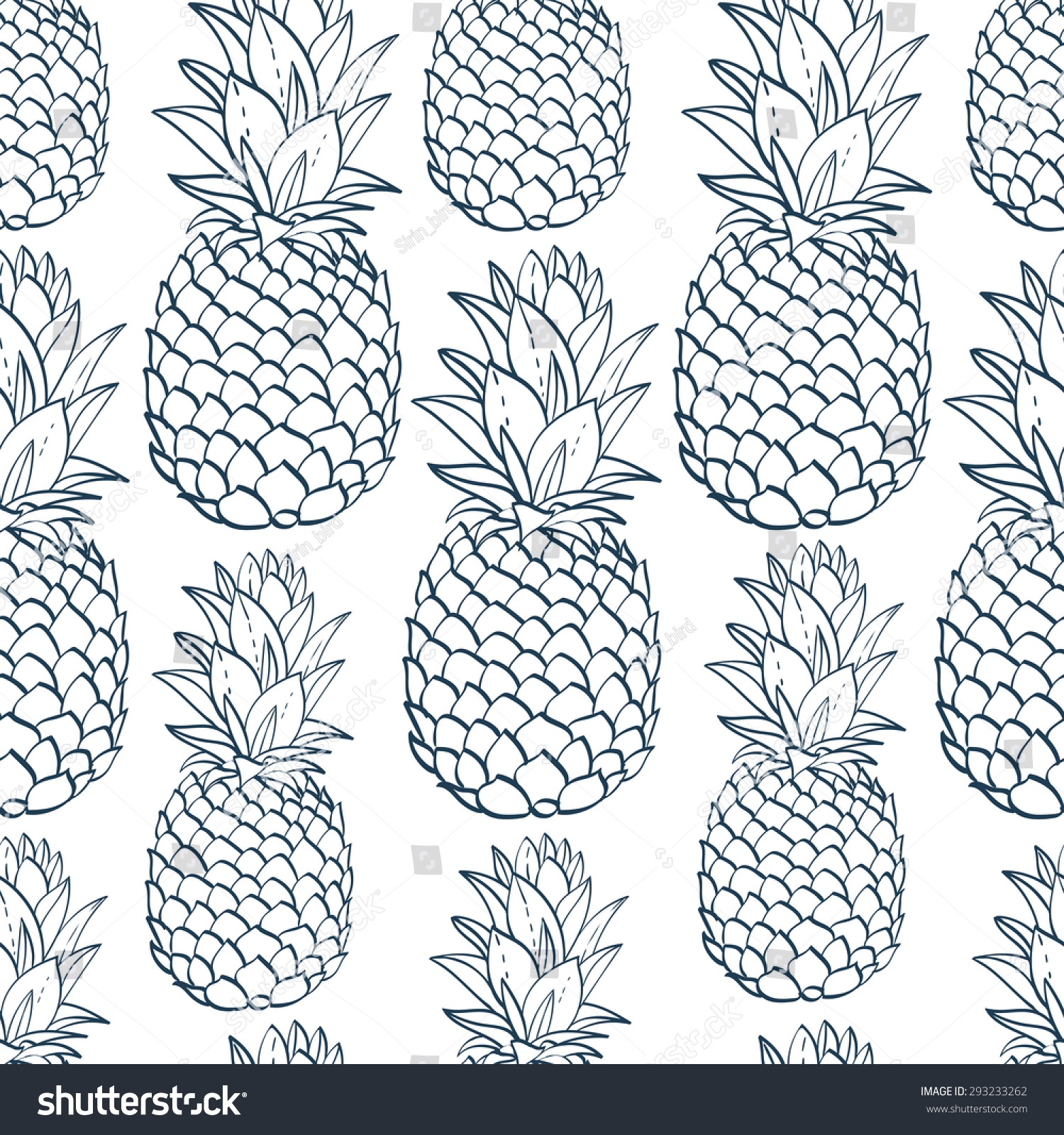Exotic Seamless Pattern Silhouettes Tropical Fruit Stock