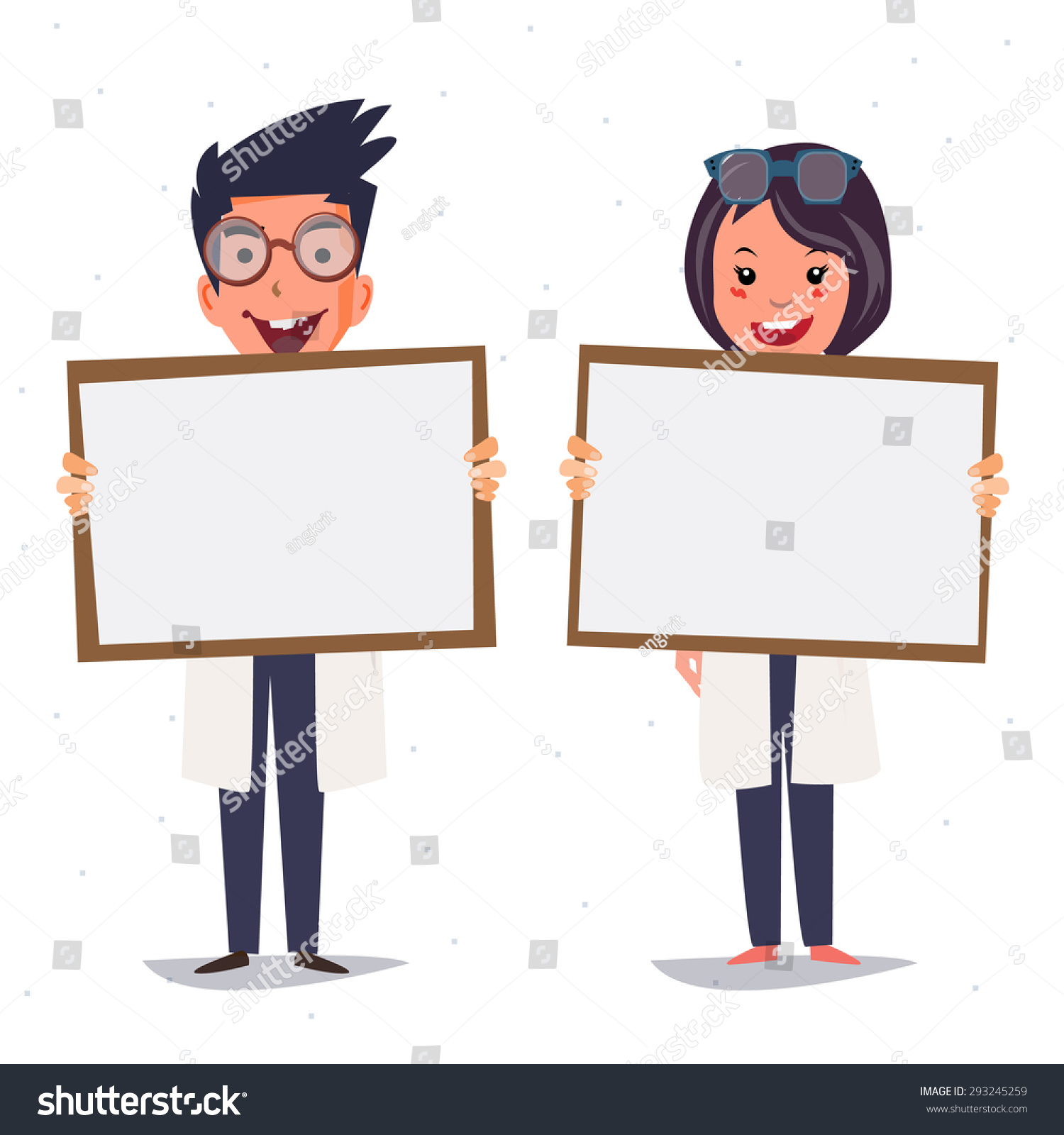Character Design Presentation : Doctor couple holding paper board presentation stock