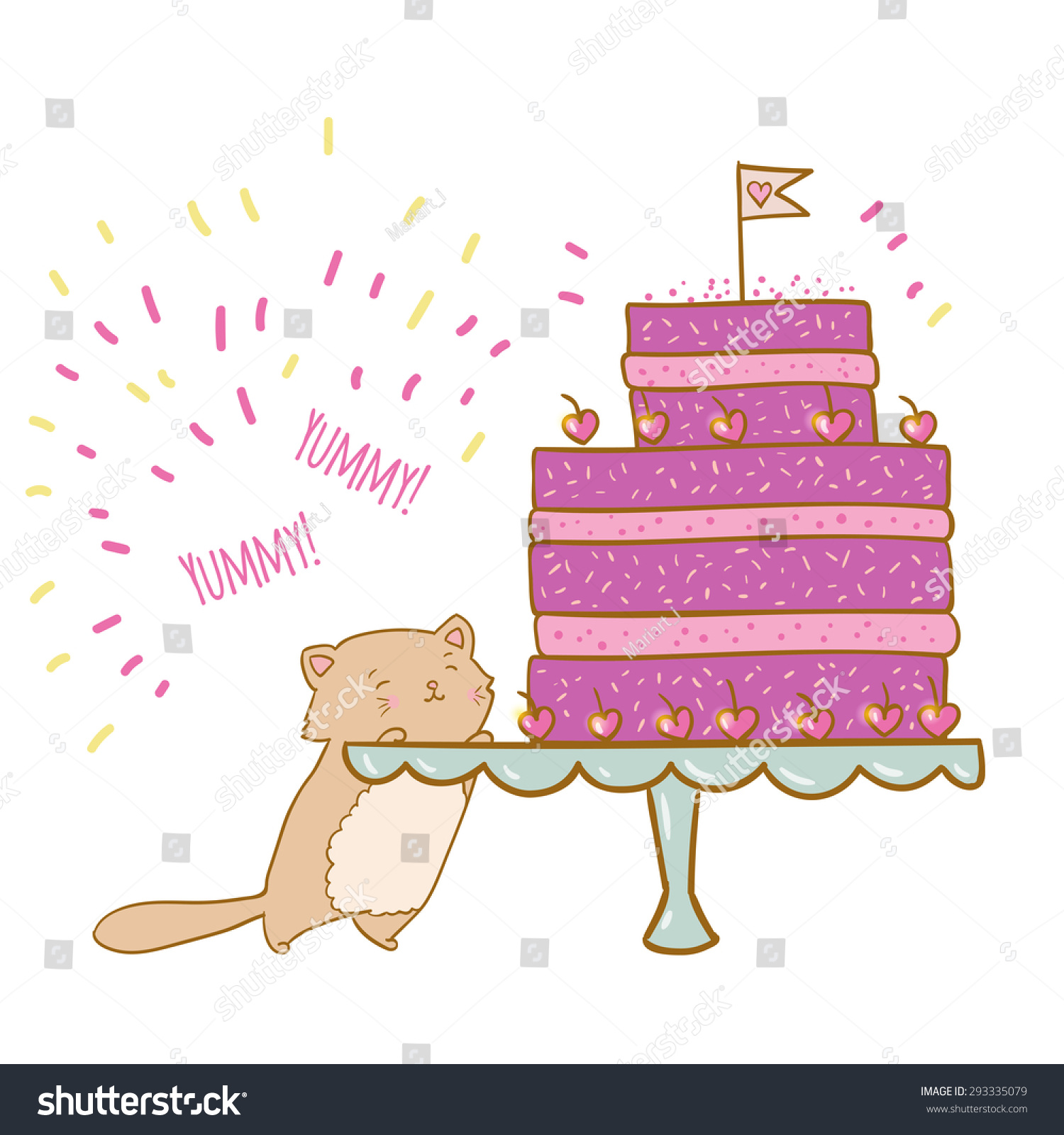 Vector Illustration Cake Cat Ideal Party Stock Vector 293335079 ...