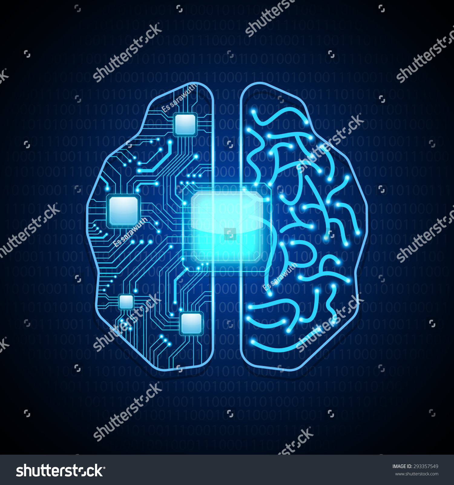 Circuit Brain Reusable : Brain circuit board texturevector stock vector