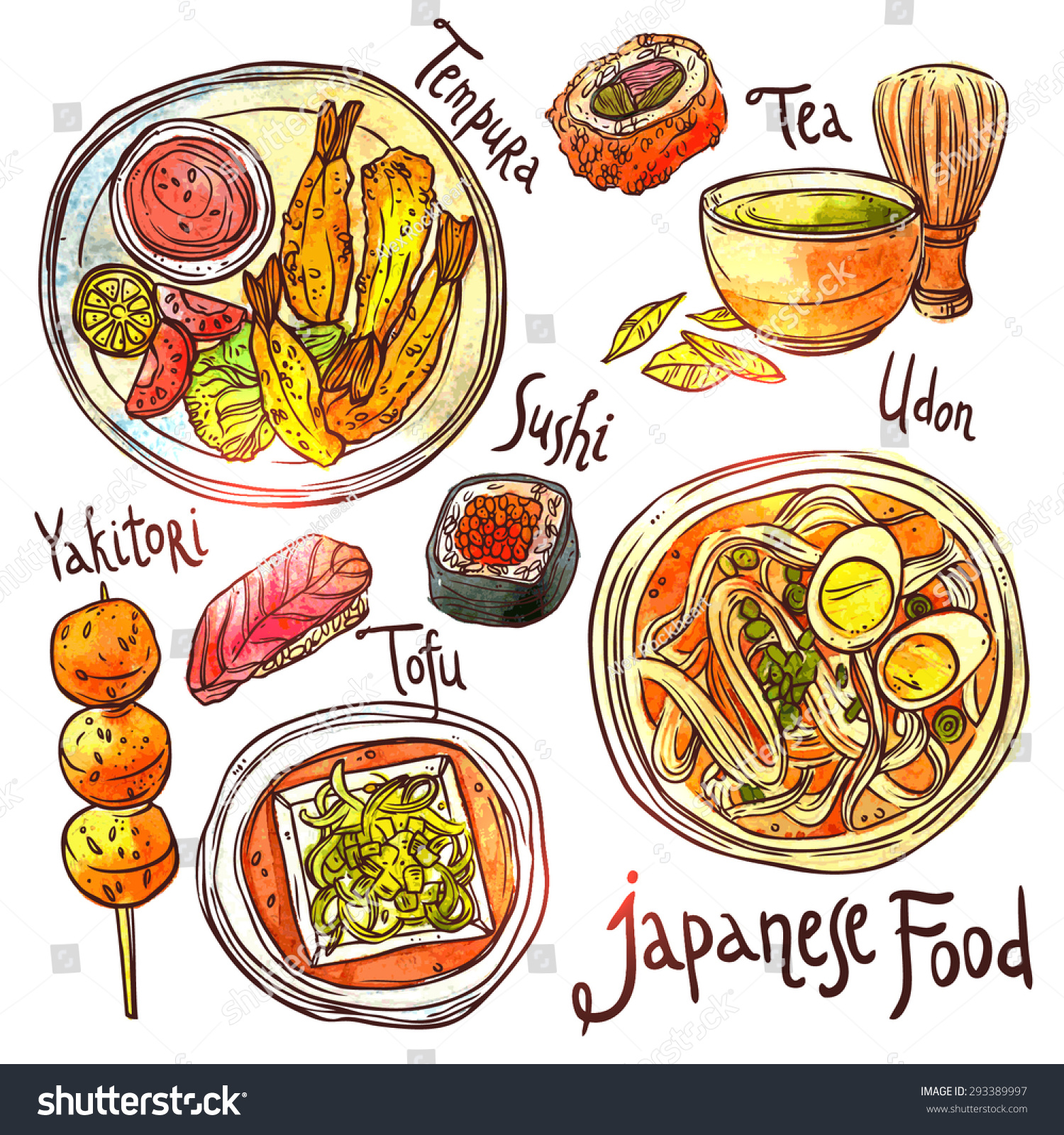 Asian Food Hand Drawn Watercolor Illustration Stock Vector ...