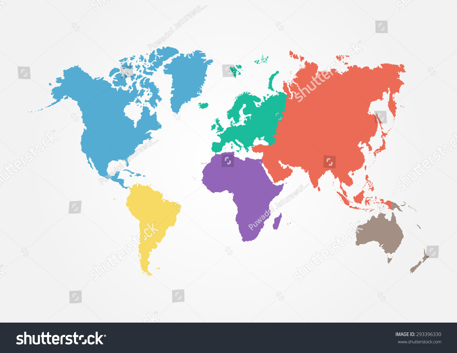 Vector world map continent different color stock vector hd royalty vector world map with continent in different color flat design gumiabroncs Image collections