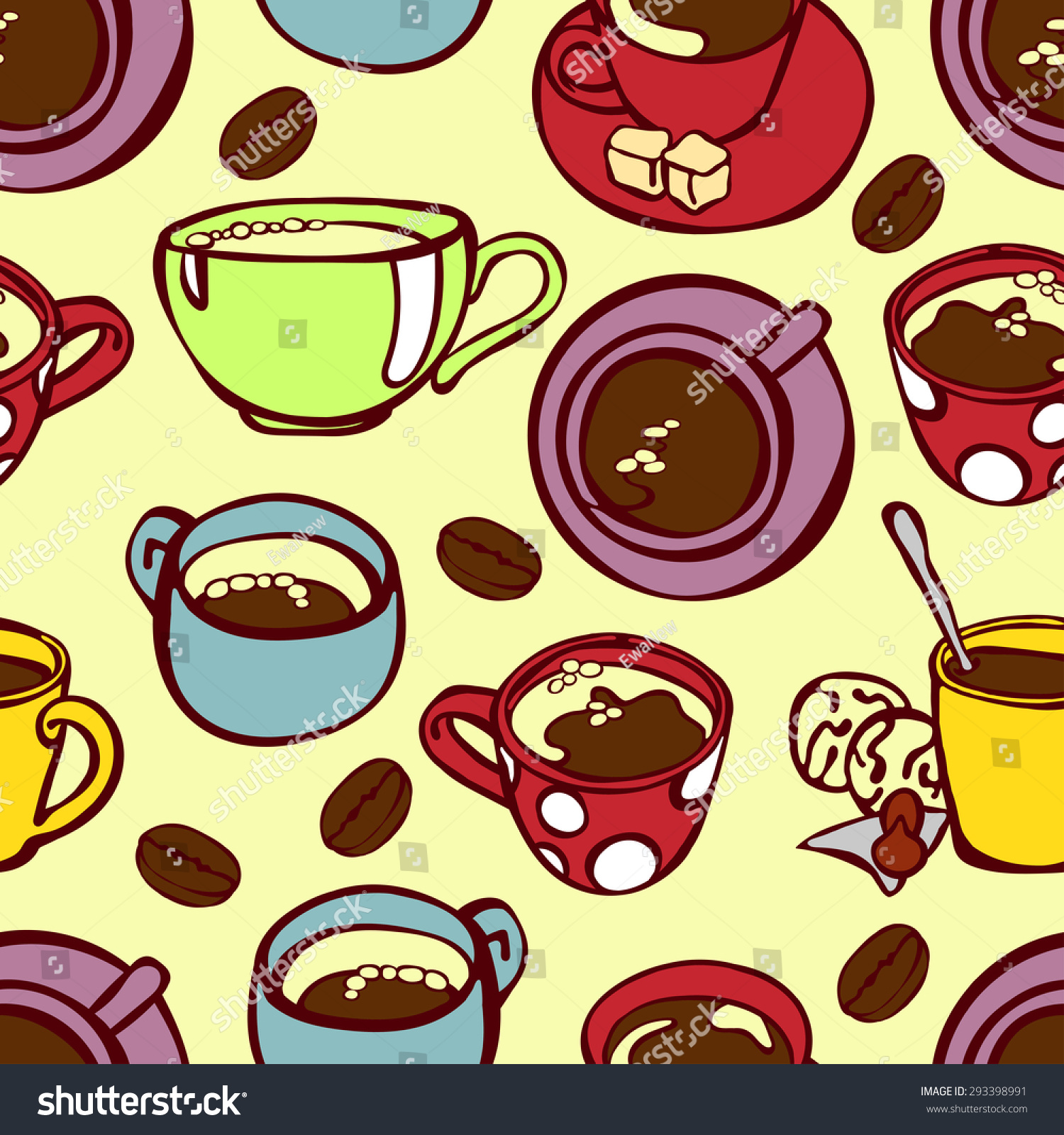 Set Cute Cups Mugs Coffee Mug Stock Vector Royalty Free 293398991