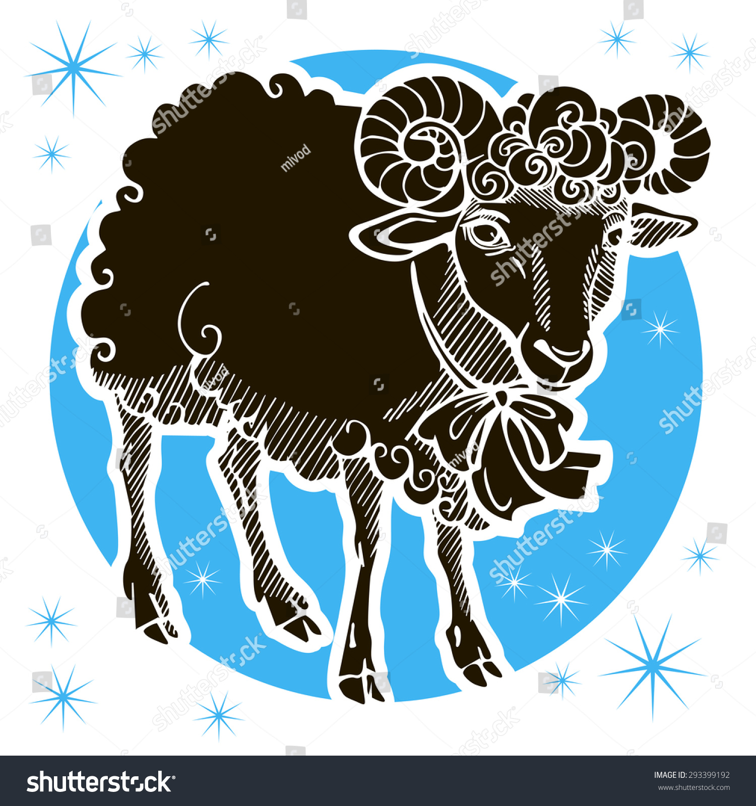 Zodiac signs. Aries is a sheep or a ram