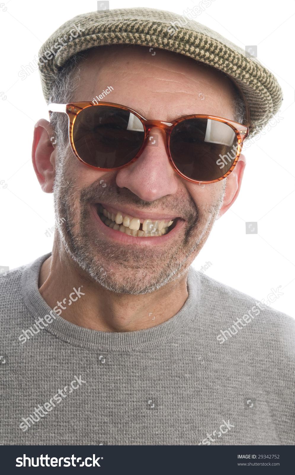 0748cb4b99019 middle age senior man wearing artist scottish tweed hat macro close up  distorted large nose face