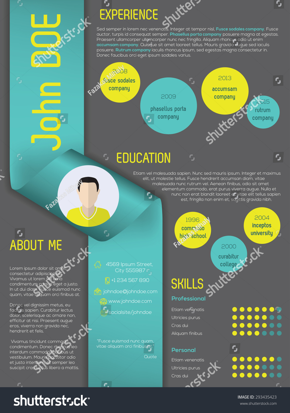 modern curriculum vitae cv resume template stock vector 293435423 modern curriculum vitae cv resume template design ribbon