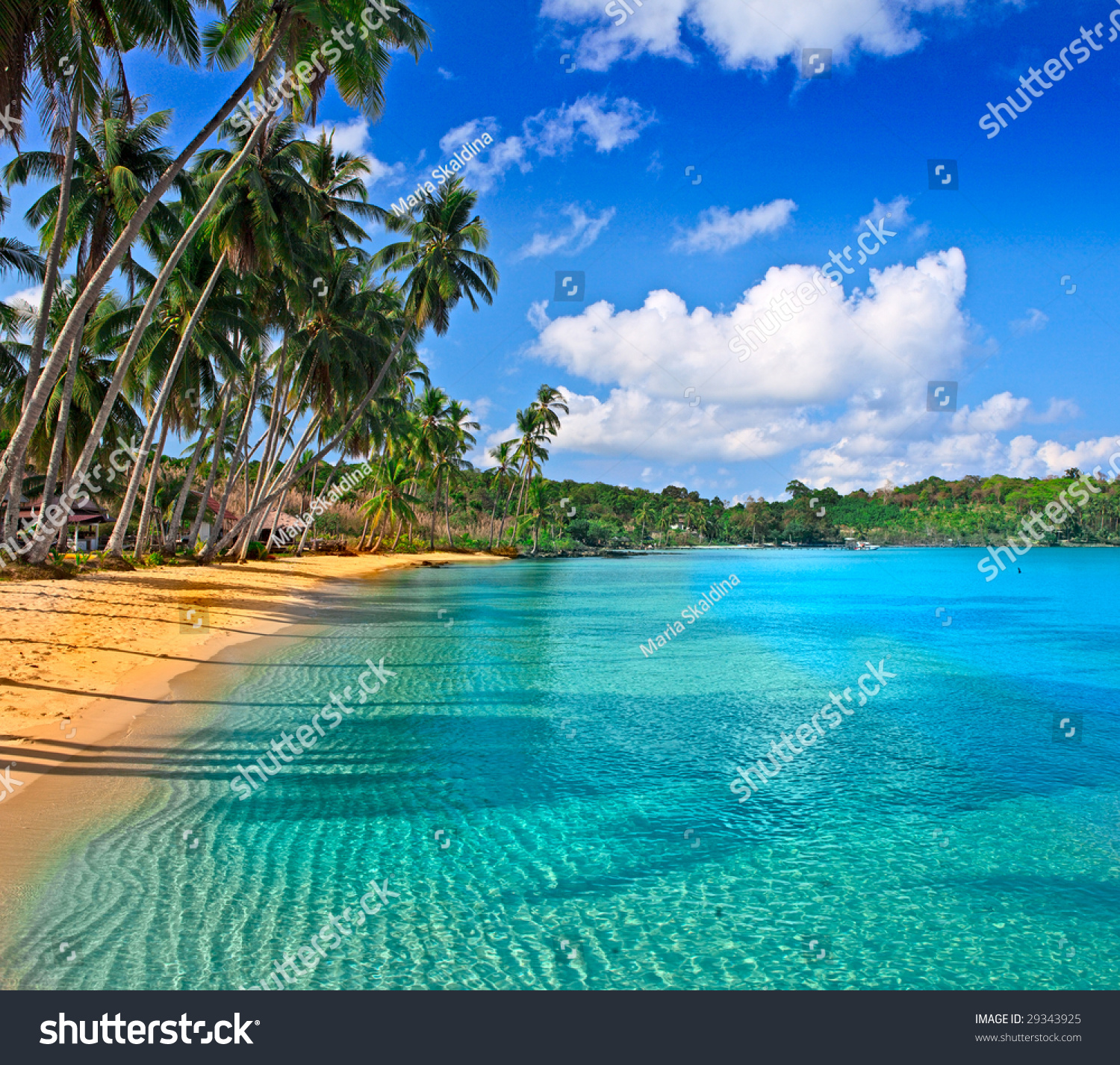 Exotic Beach: Paradise Nature, Sea Water, Summer And Hotel House On The