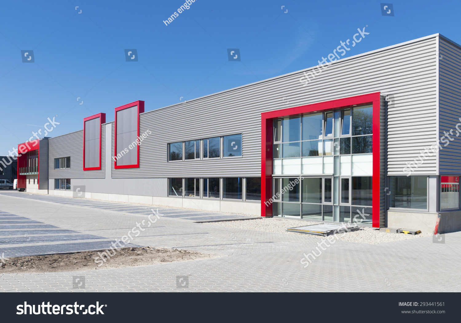 Newly Build Modern Red Office Building Stock Photo ...