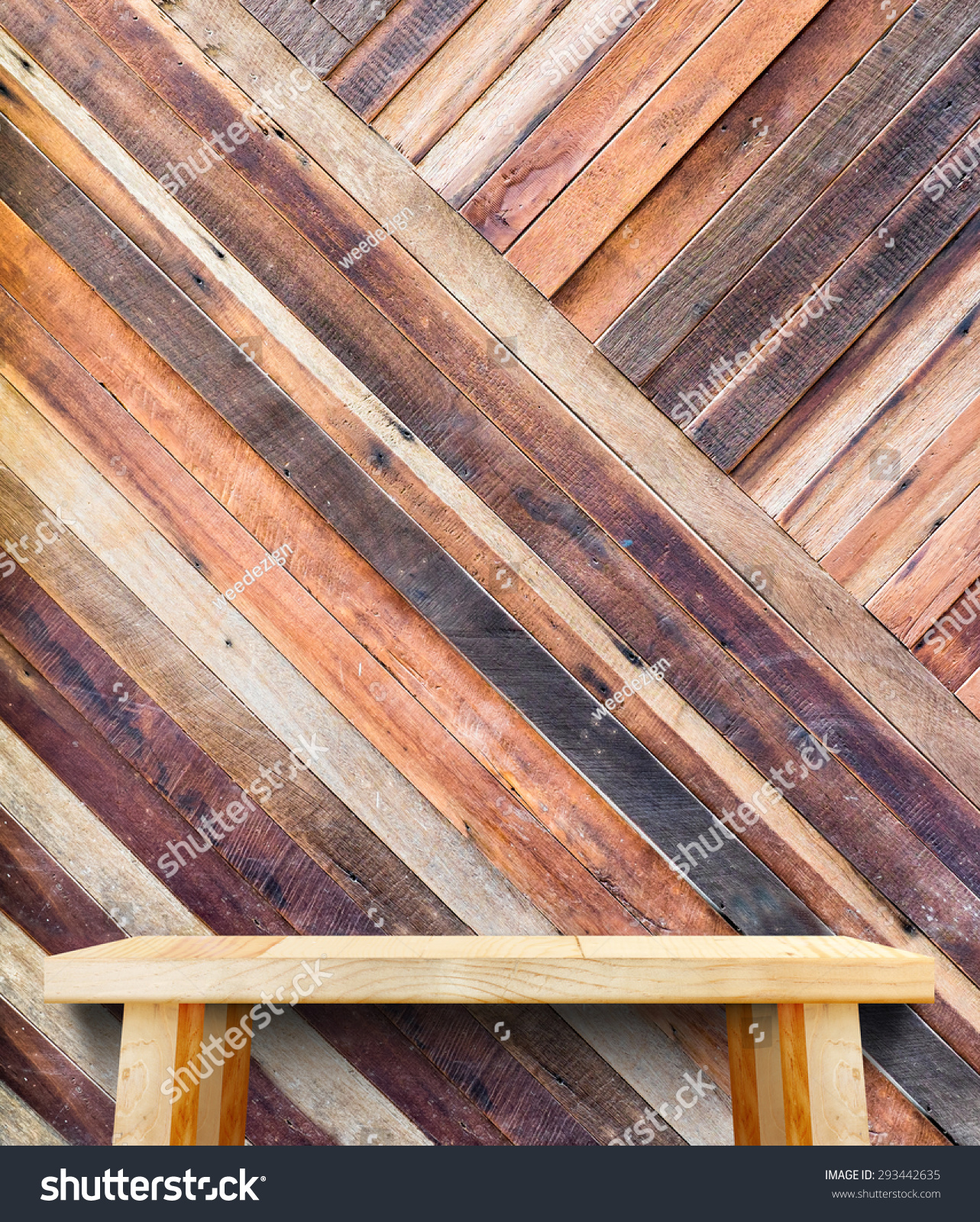 wooden tabletop tropical diagonal wood wall template stock photo