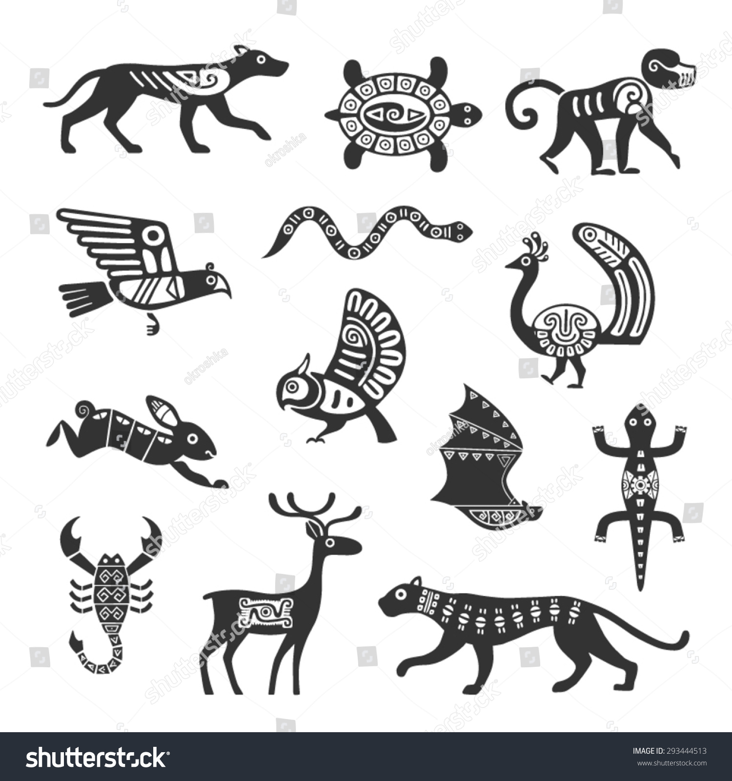 Animal ornaments - Ethnic Tribal Totem Animal With Patterns And Ornaments