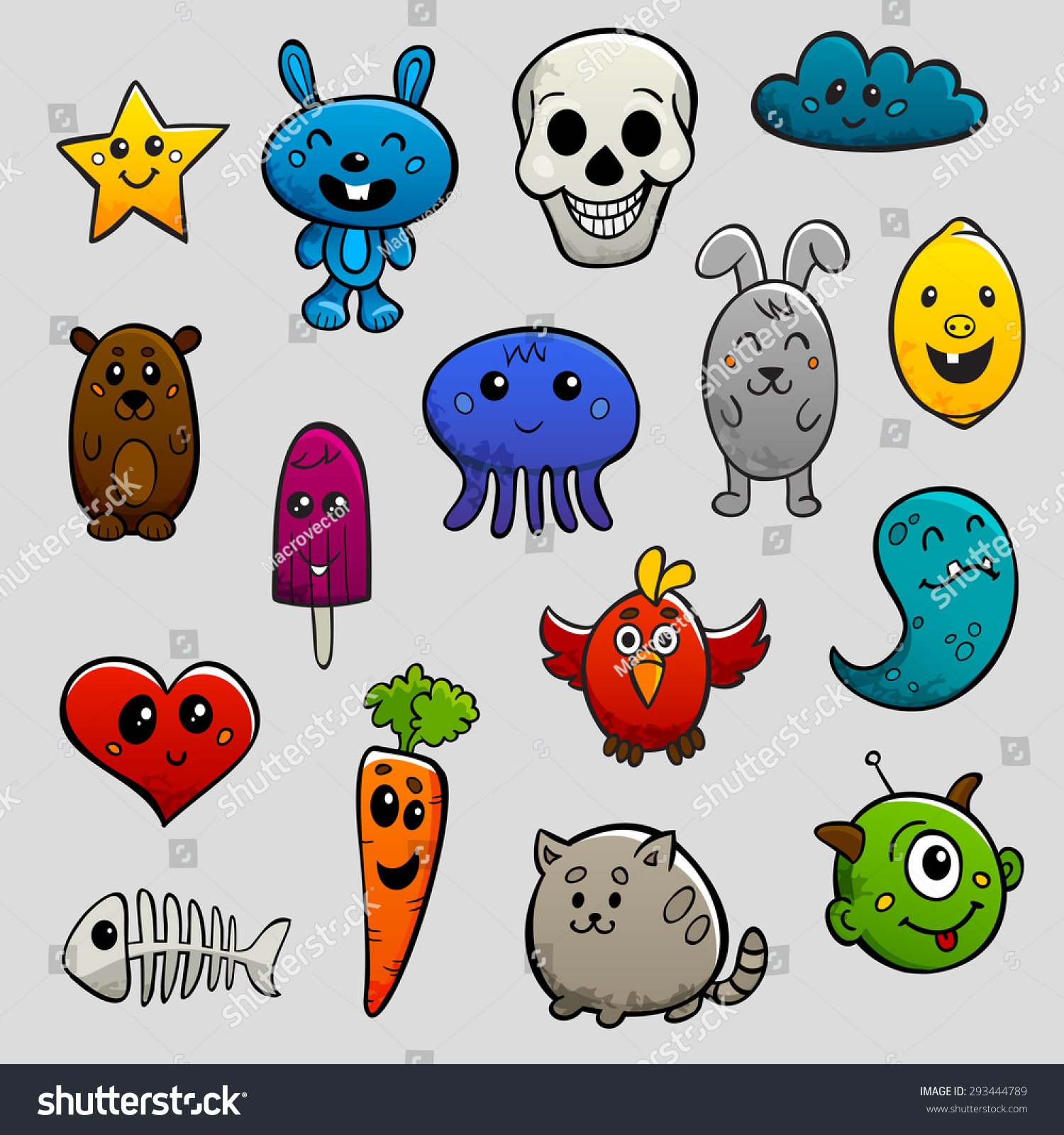 Graffiti Cartoon Characters Abstract Animals And Fruits Flat Bright Color Icon Set Isolated
