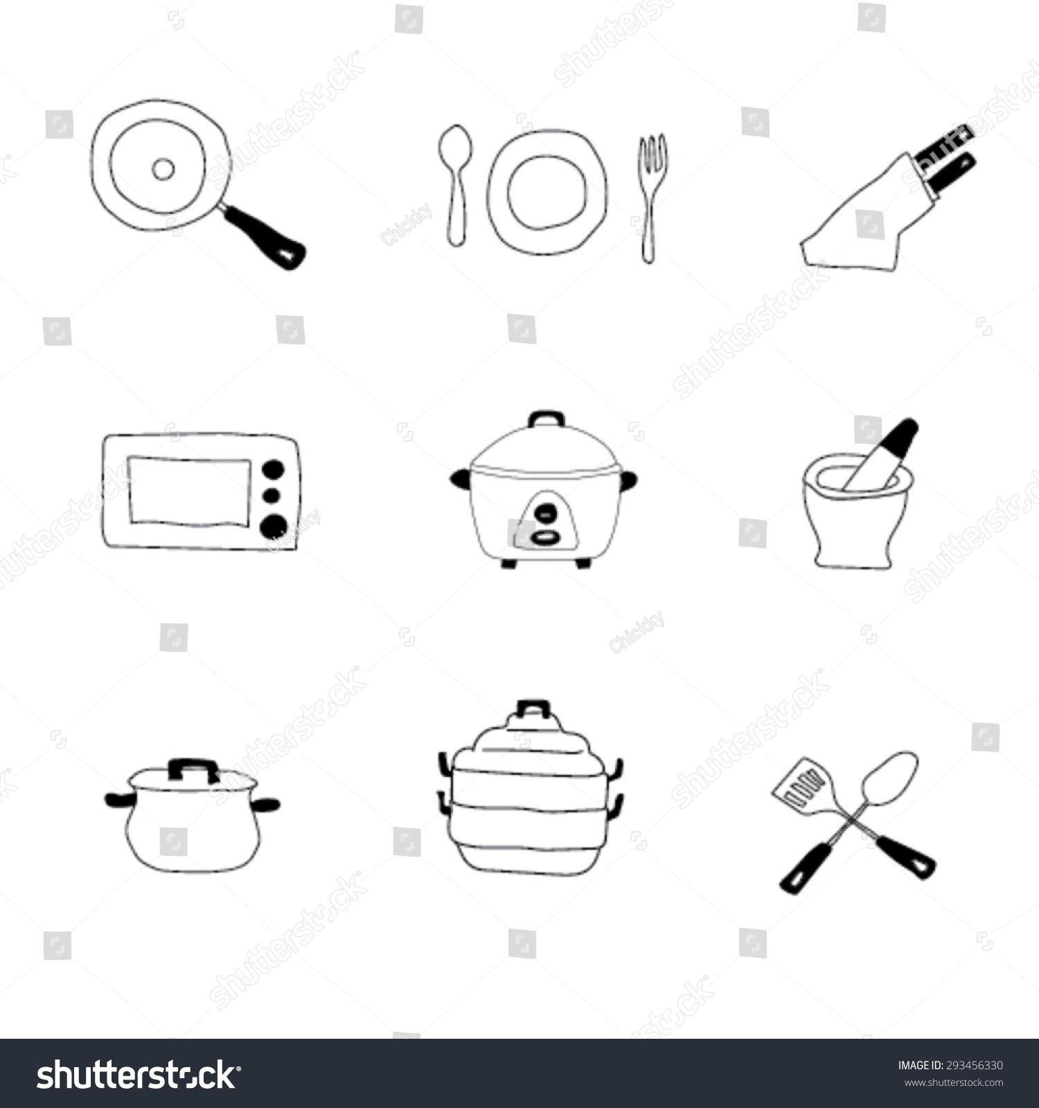 Set Kitchen Equipment Vector Stock Vector Shutterstock