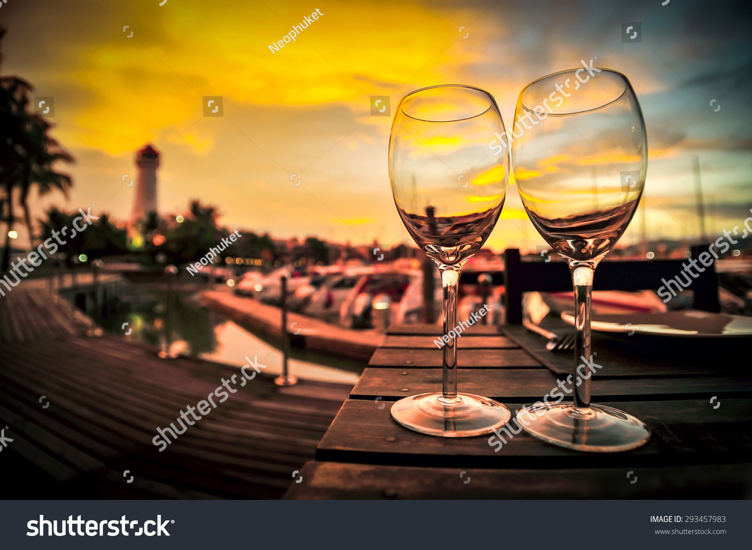 Dinner Table Background silhouette wine glass on dinner table stock photo 293457983