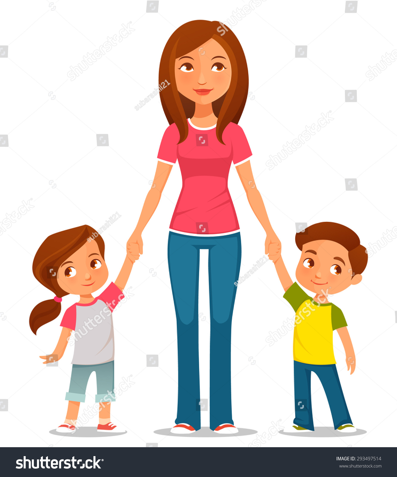 Cute Cartoon Illustration Mother Two Kids Stock Vector ...