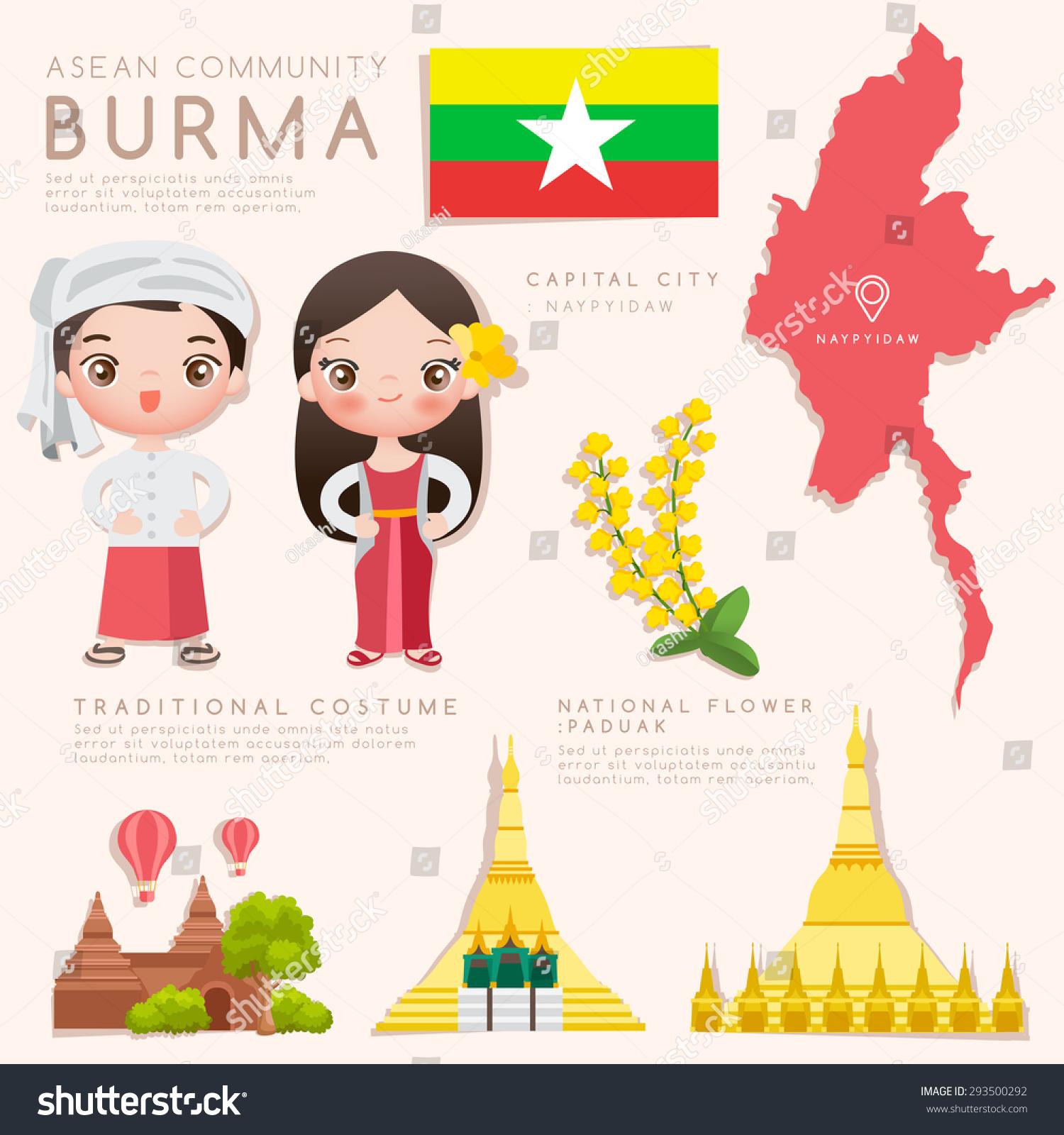 burma asean economic community aec infographic stock