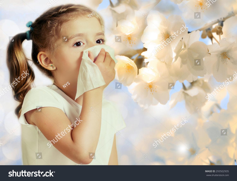 Sneezing Child Girl Kids Seasonal Spring Stock Photo 293502935 ...