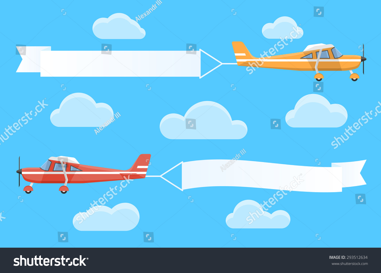 flying advertising banners pulledlight stock vector 293512634
