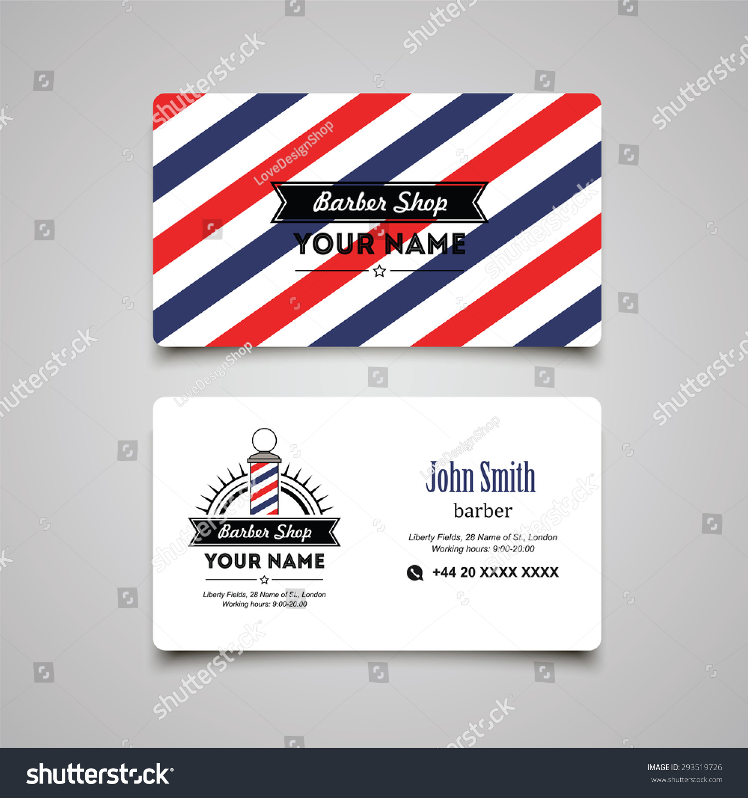Hair salon barber shop business card stock vector royalty free hair salon barber shop business card design template fbccfo Images