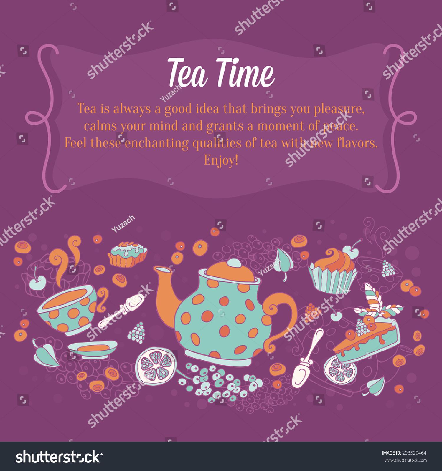 Elegant Set Hand Drawn Tea Cakes Stock Vector 293529464 - Shutterstock