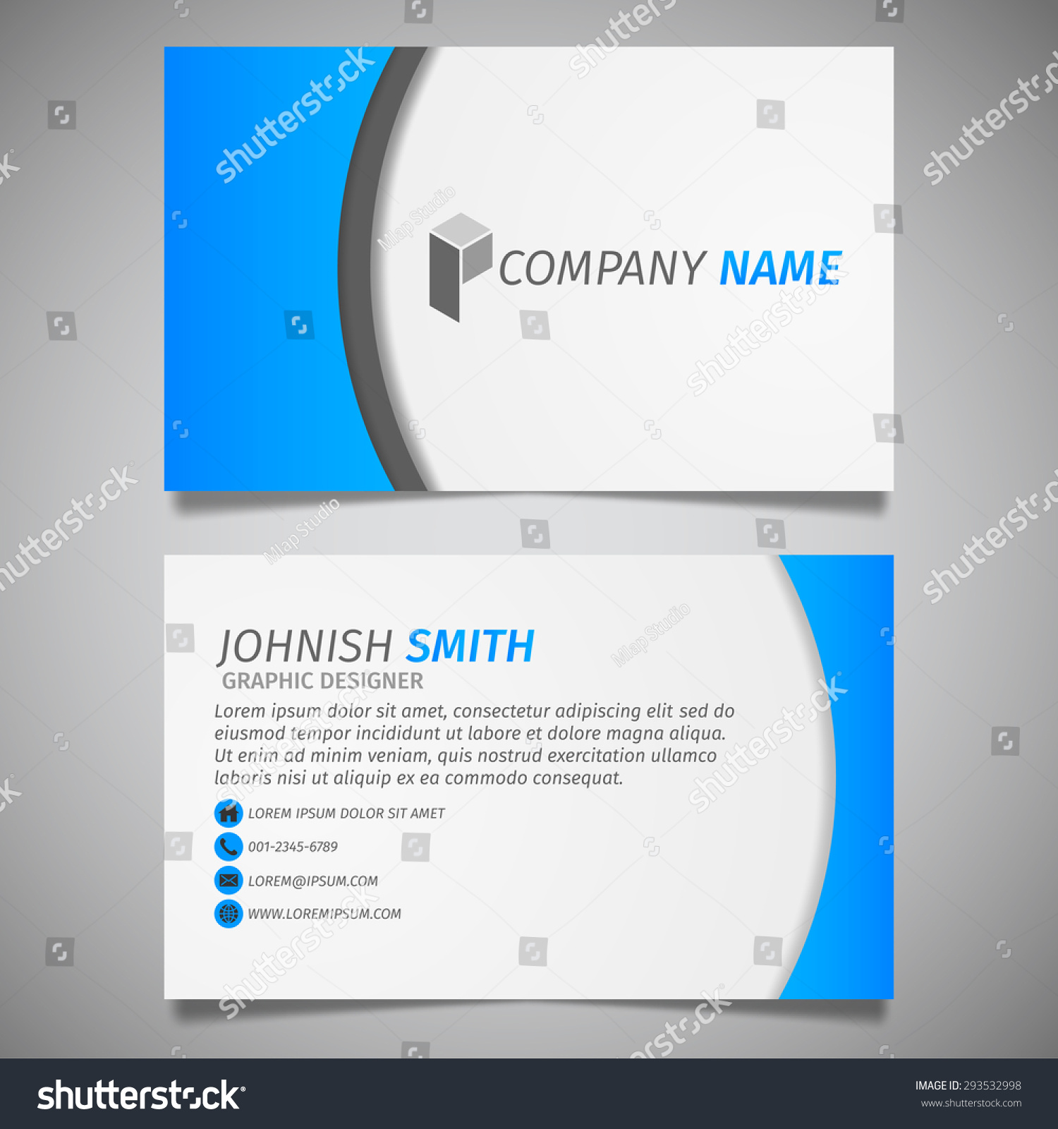Modern Creative Design Simple Business Card Stock Vector 293532998 ...