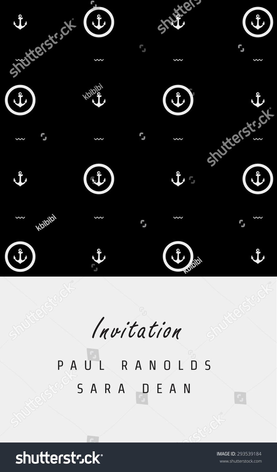 vector minimal invitation card ticket monochrome stock vector