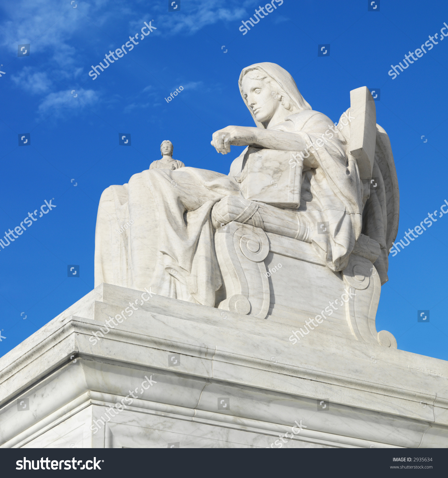 Statue In Front Of Supreme Court Building. Stock Photo ...
