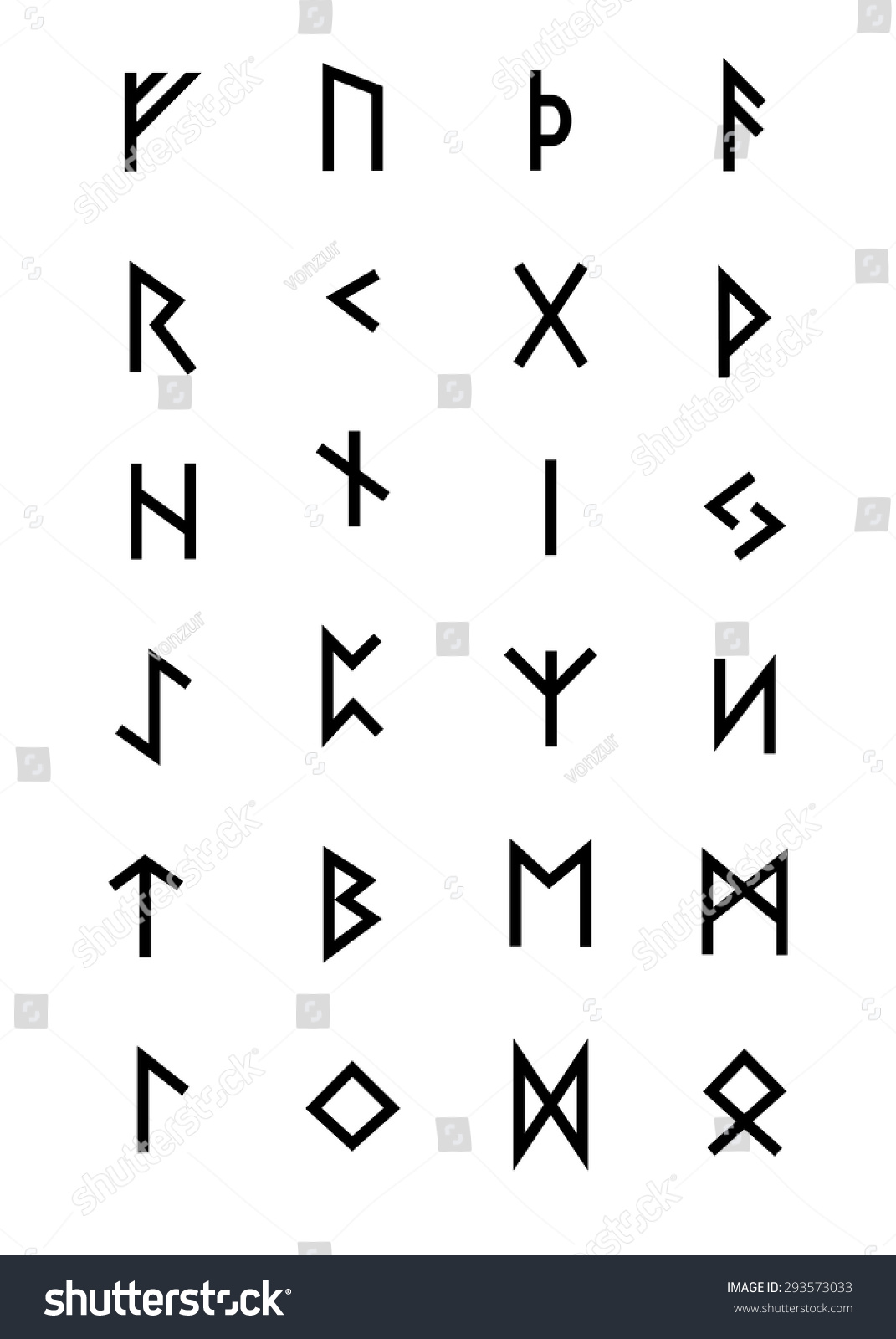 Alphabet Ancient Old Norse Runes Futhark Stock Vector Royalty Free