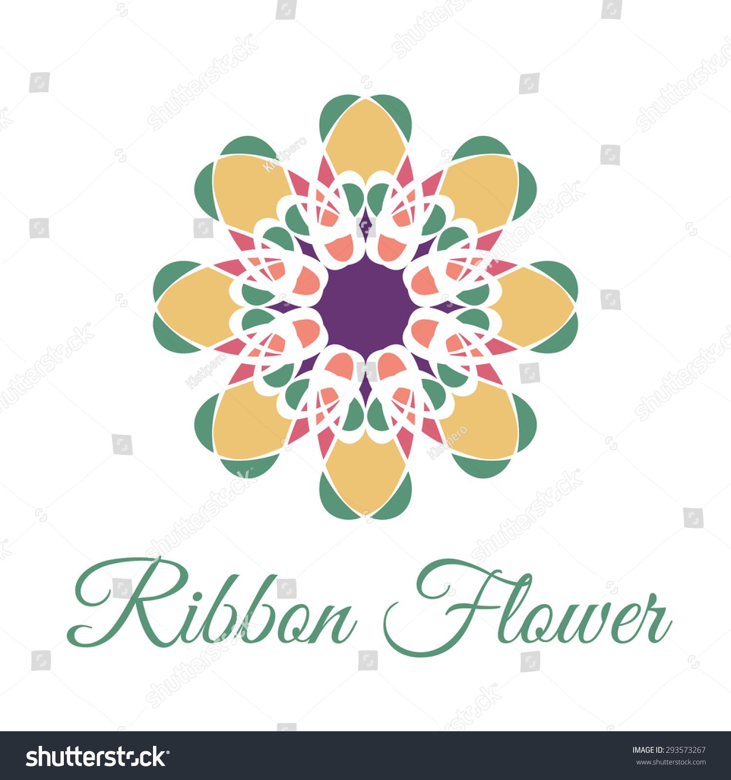 Vintage Ornamental Circular Flower Logo Colorful Stock Vector