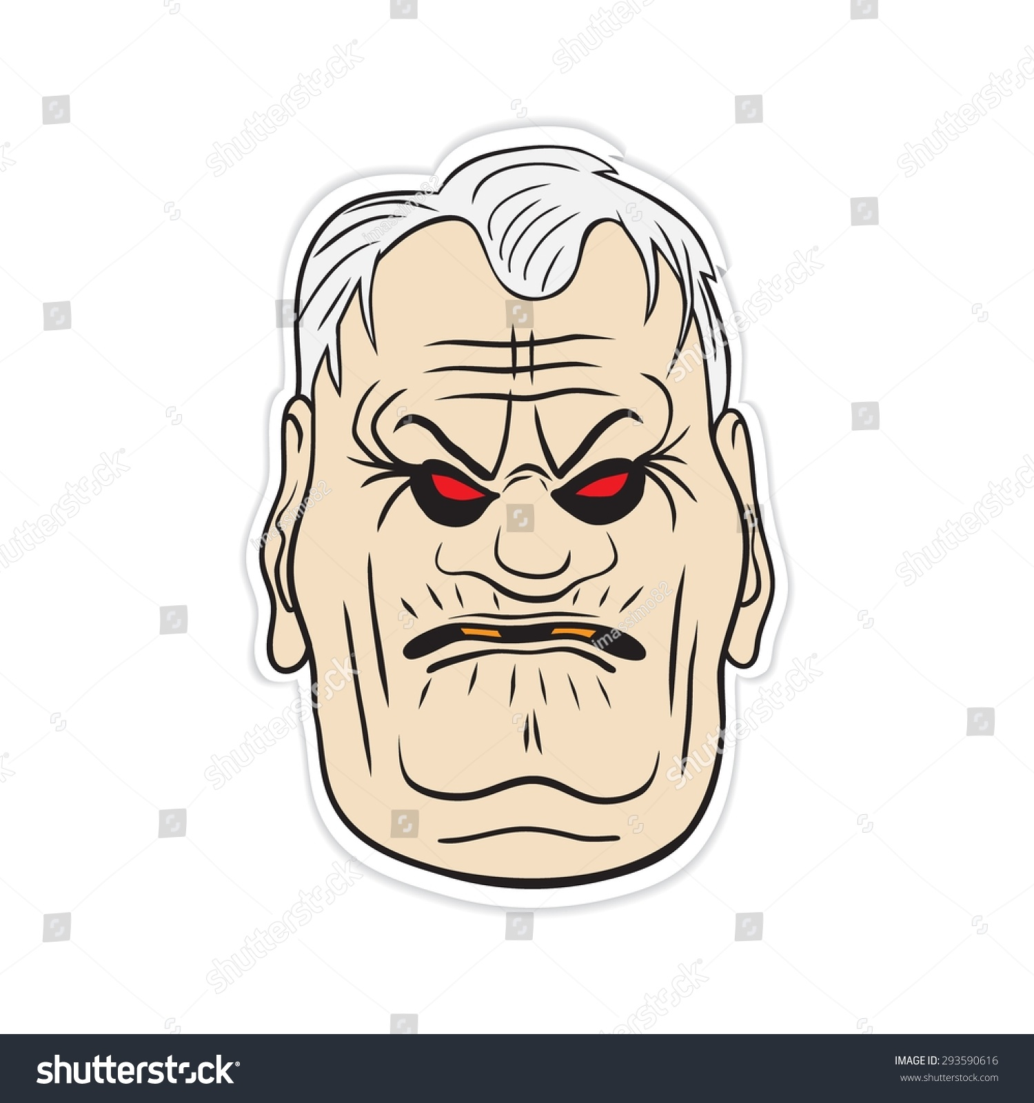 Cartoon old man face hand drawn vector sticker on a white background